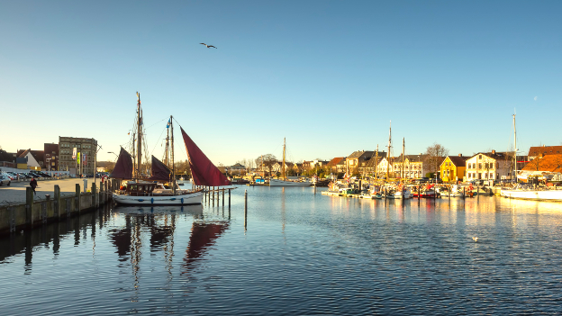 Old harbor with sailing boats in Eckernfoerde.