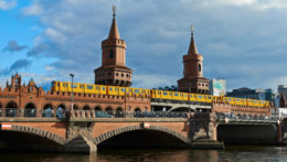 View of the Oberbaumbrücke in Berlin.